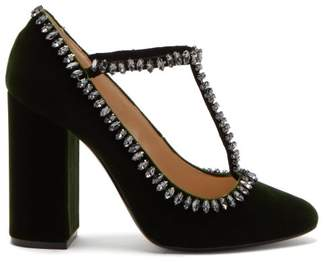 No.21 No. 21 - Crystal Embellished Velvet Pumps - Womens - Dark Green