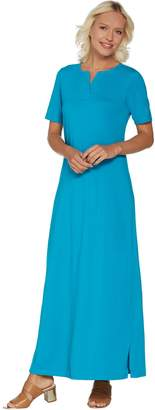 Denim & Co. Essentials Regular Split V-Neck Knit Maxi Dress