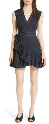 Rebecca Taylor Sleeveless Cotton Poplin Wrap Dress
