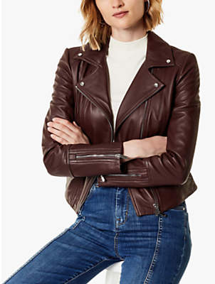 Karen Millen Signature Leather Jacket, Aubergine