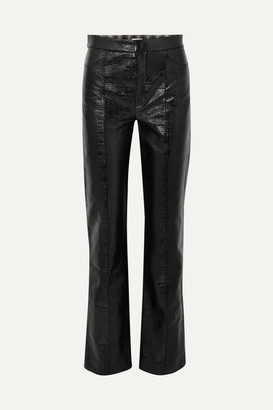 Totême Olbia Coated Cotton-blend Straight-leg Pants - Black