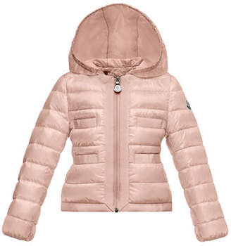 Moncler Alose Hooded Lightweight Down Puffer Coat, Light Pink, Size 2-3 $420 thestylecure.com