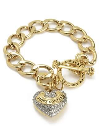 Juicy Couture Pave Heart Banner Logo Starter Bracelet