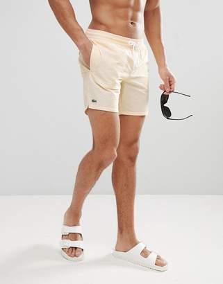 Lacoste Searsucker Stripe Logo Swim Shorts in Yellow