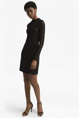 French Connection Lea Mesh Jersey High Neck Dress