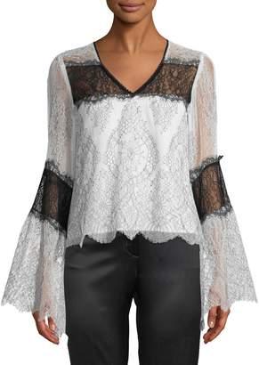 Nanette Lepore Chanteuse Sheer Lace Bell-Sleeve Top