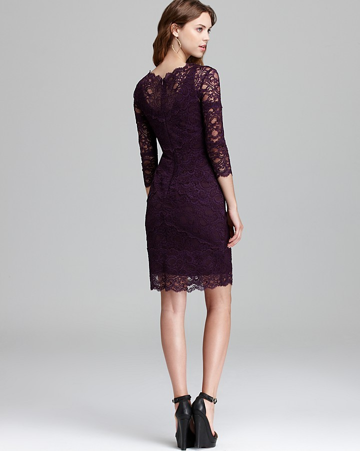 Nicole Miller Three Quarter Sleeve V Neck Lace Dress - Kate