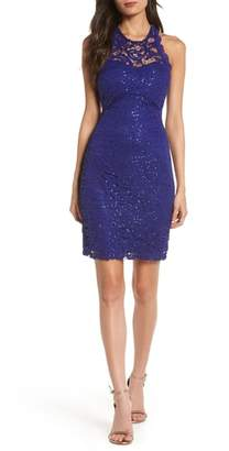 Sequin Hearts Lace Body-Con Dress