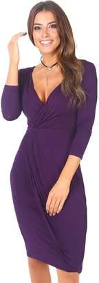 KRISP 6174-PUR-12: Modest Yet Very Flattering Wrap Around Midi Dress