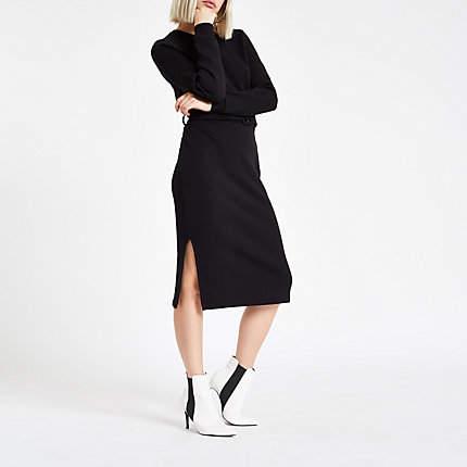 Buy Womens Black belted sweater dress!