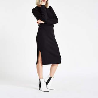 River Island Black belted sweater dress