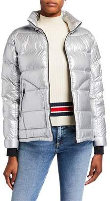49 Winters Metallic Boxy Down Jacket, Gray