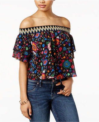 Guess Printed Off-The-Shoulder Top $59 thestylecure.com