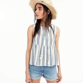 J.Crew Tall Point Sur tie-front top in striped linen