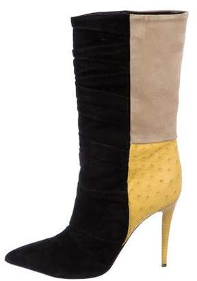 Narciso Rodriguez Suede Ostrich-Trimmed Booties