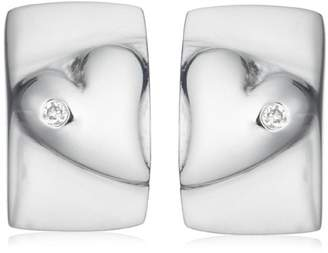 Jo for Girls Silver Diamond Solid Heart Rectangle Stud Earrings