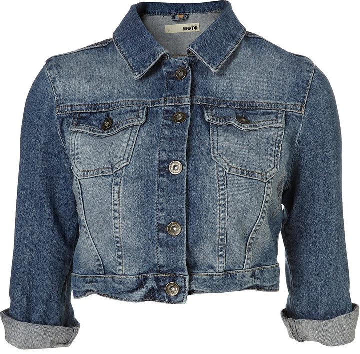 MOTO Indigo Denim 3/4 Sleeve Crop Jacket