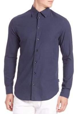 Giorgio Armani Textured Cotton Button-Down Shirt