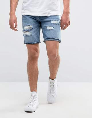 Pull&Bear Distressed Denim Short In Mid Wash