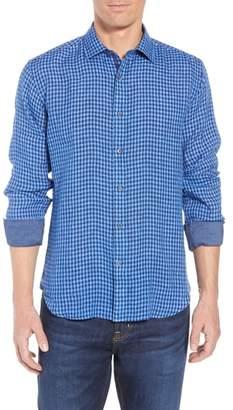 Bugatchi Shaped Fit Check Linen Sport Shirt