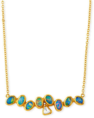 Gurhan One-of-a-Kind Horizontal Bar Necklace with Diamond & Opal in 24k Gold