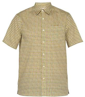 Prada Circle Print Short Sleeved Cotton Shirt - Mens - Yellow Multi