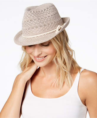 INC International Concepts I.N.C. Crochet Packable Fedora, Created for Macy's