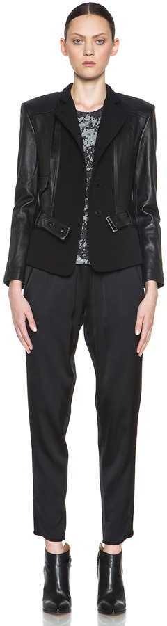 Alexander Wang Leather Pieced Viscose-Blend Track Pant in Black
