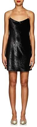 Area Women's Evelyn Crystal-Strap Velvet Slipdress