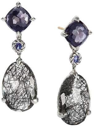 David Yurman Chatelaine Drop Earrings with Tourmilated Quartz, Black Orchid & Tanzanite