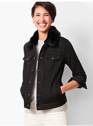 Talbots Faux-Fur Collar Jean Jacket