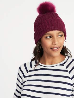 Old Navy Rib-Knit Pom-Pom Beanie for Women