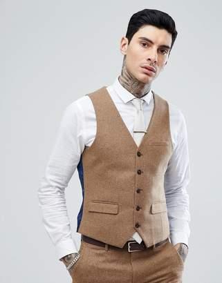 Harry Brown Camel Nep Slim Fit Suit Vest