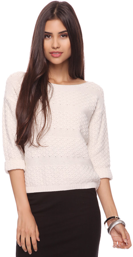 Forever 21 Crop Striped Sweater