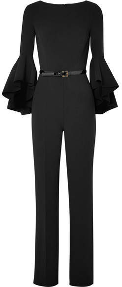 Michael Kors Collection - Belted Wool-blend Crepe Jumpsuit - Black