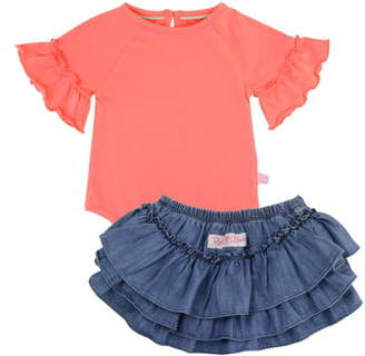 RuffleButts Coral Bodysuit & Skirted Bloomers Set