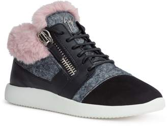 Giuseppe Zanotti Kriss black suede pink shearling sneakers