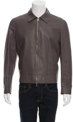 Deveaux Leather Zip-Front Jacket w/ Tags