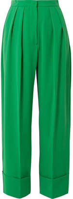 Sara Battaglia Pleated Crepe Wide-leg Pants - Green