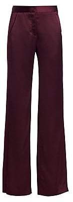 Halston Women's Straight Fit Pleat Detail Satin Pants