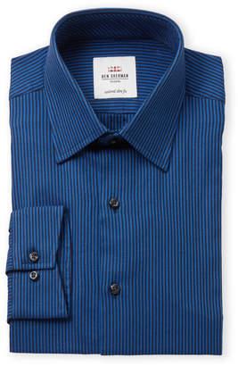 Ben Sherman Navy & Black Herringbone Stripe Slim Fit Dress Shirt