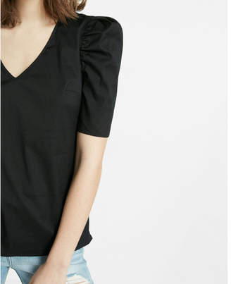 Express puffed sleeve v neck blouse $49.90 thestylecure.com