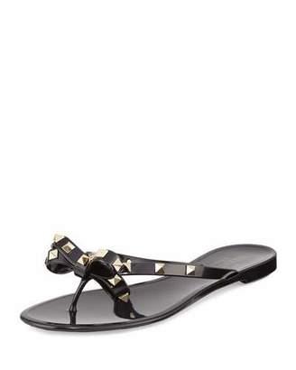 Valentino Rockstud PVC Thong Sandal, Black $295 thestylecure.com