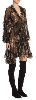 Zimmermann Feathery Wrap Silk Dress $895 thestylecure.com
