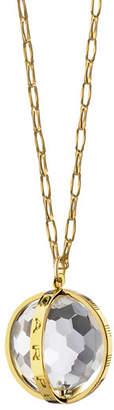"Monica Rich Kosann 18K Carpe Diem Rock Crystal Charm Necklace on 30"" Delicate Chain"