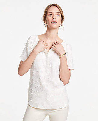Ann Taylor Floral Jacquard Shirred Short Sleeve Popover