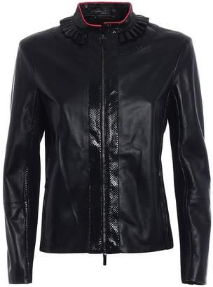 Giorgio Armani Snakeskin Detail Leather Jacket