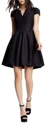Halston Dress - Short Sleeve Notched Neck Tulip Skirt