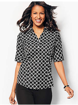 Talbots The Perfect Elbow-Sleeve Shirt - Geo-Print