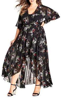 City Chic Plus Two-Piece Floral Agave Wrap Dress and Camisole